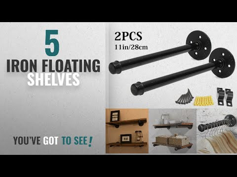Top 10 Iron Floating Shelves [2018 ]: KINGSO 1PCS 11'' Industrial Black Iron Pipe Shelf Bracket,