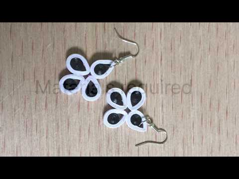 DIY Black And White Paper Quilled Drop Earrings