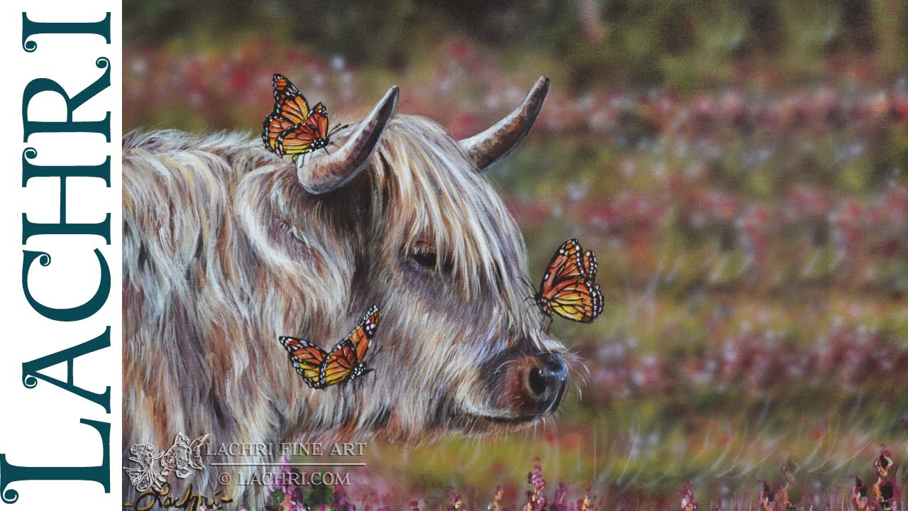 speed painting highland cow airbrush u0026 acrylic time lapse demo