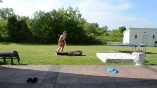 12 year old learns a full on ground backflip 360