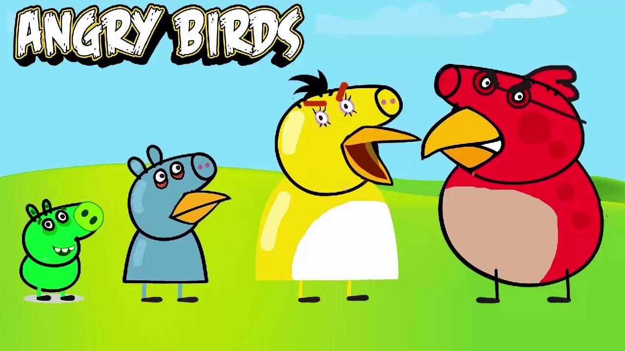 Peppa Pig Com Angry Birds Desenho Completo Família Pig