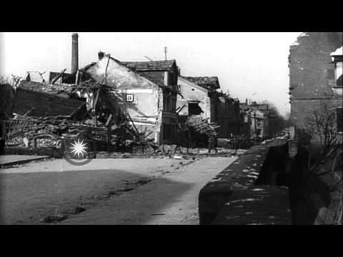 US infantrymen climb over a wall while advancing in Worms, Germany during World W...HD Stock Footage