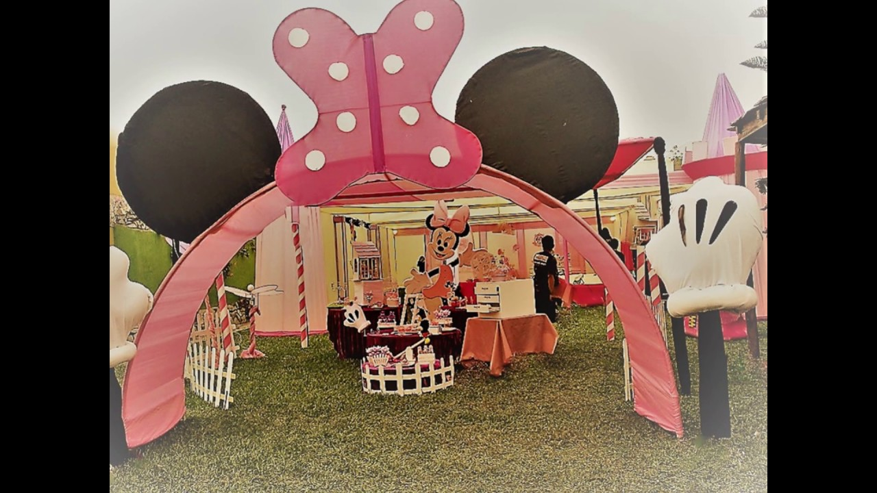Decoracion Minnie Mouse Para Fiestas Infantiles Decoracion De Fiestas Tematicas Minnie Mouse Youtube