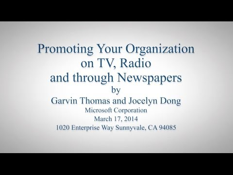 Promoting Your Organization on TV, Radio and through Newspapers