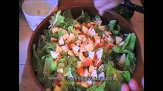 How To Make Salad Greens W/ Cranberries, Walnuts & Apples