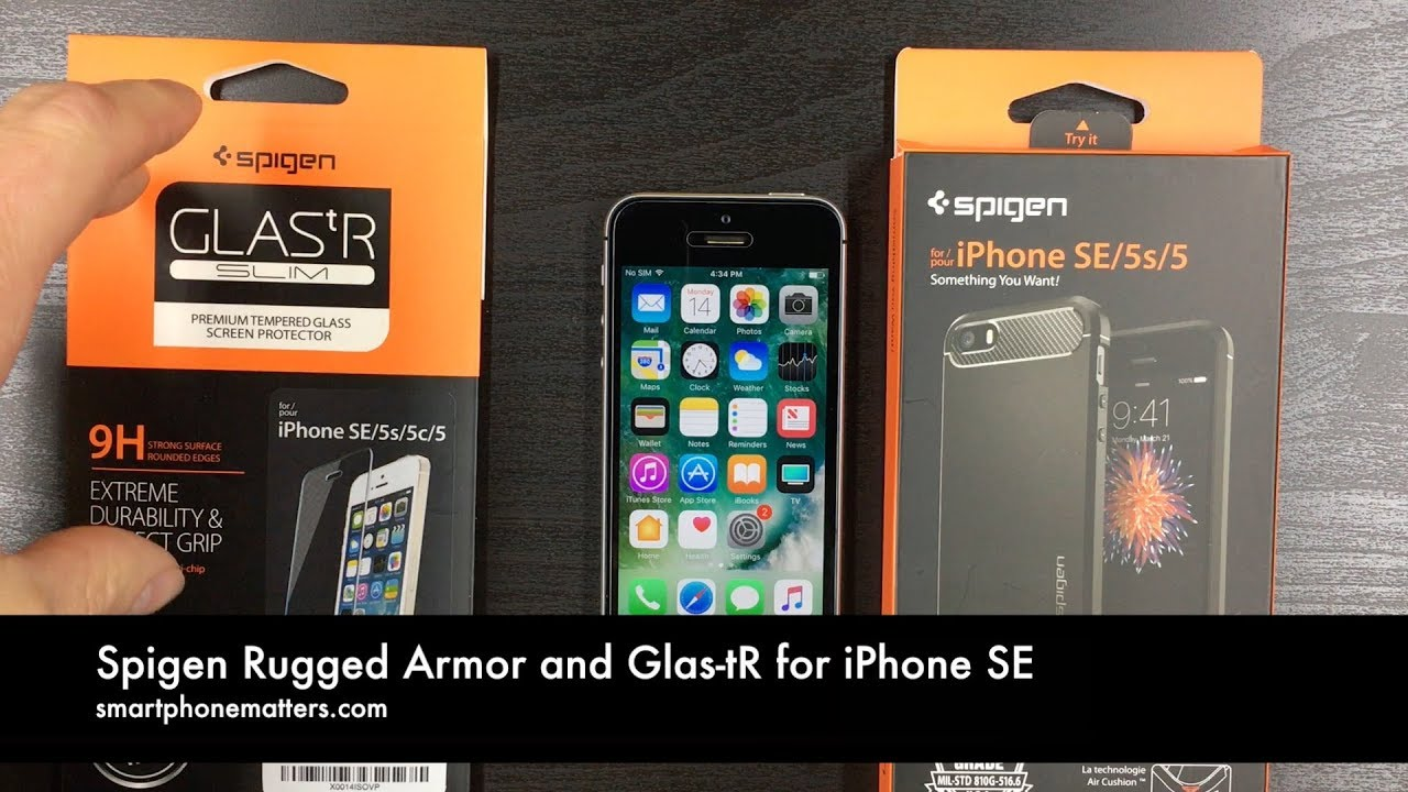 uk availability ad63e afe89 Spigen Rugged Armor and Glas-tR for iPhone SE
