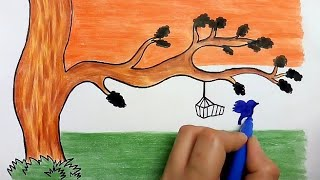 how to draw republic day scenery for kids