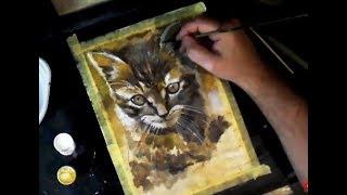 Как нарисовать красивого кота или кошку/ АКРИЛ