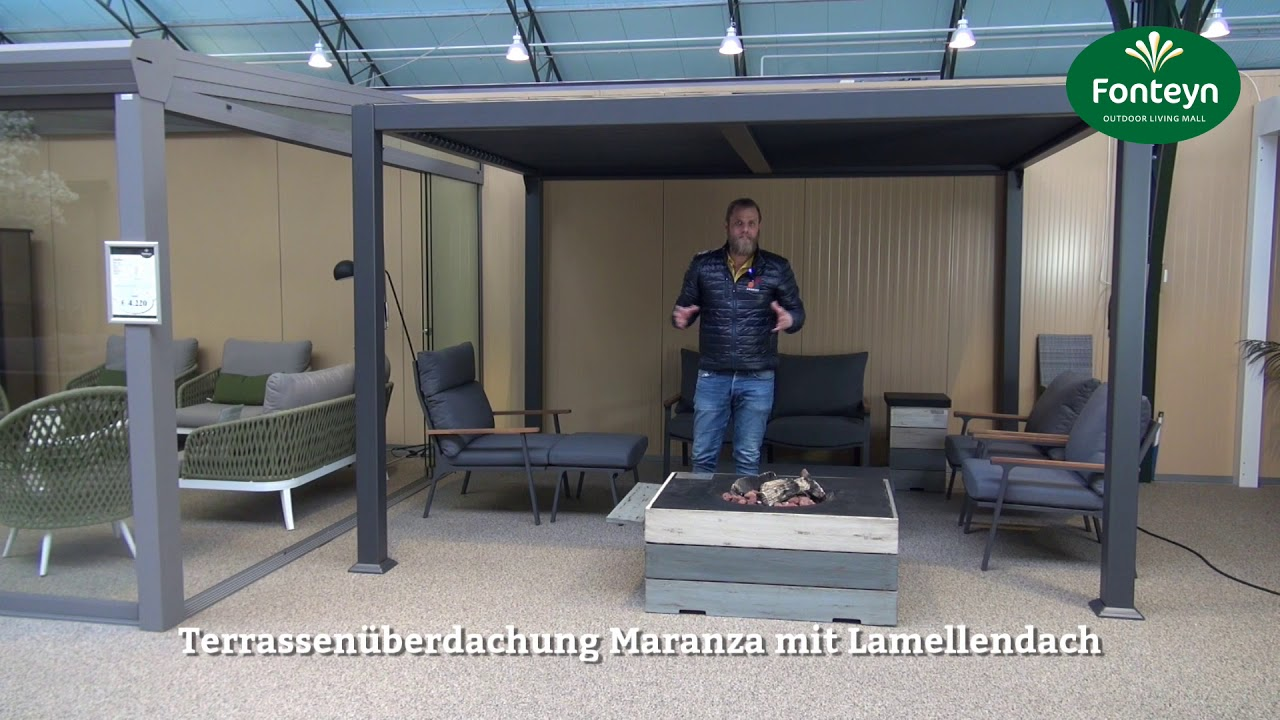 Terrassenuberdachung Maranza Mit Lamellendach Youtube