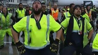 Großartiger Empfang für Rugby-Weltmeister: Flughafen-Crew tanzt den Haka für die All Blacks
