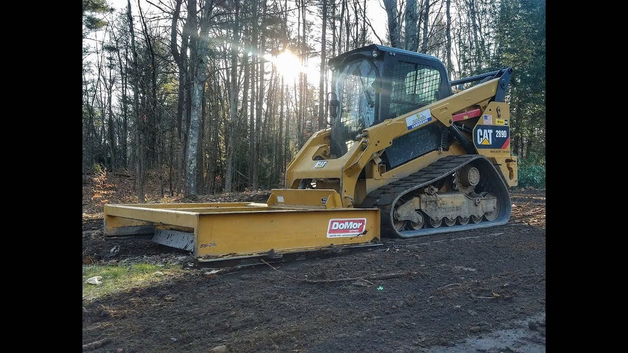 Cat 289d With Domor Box Grader Leveling Yard