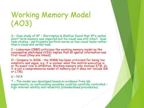 outline and evaluate the working memory model Outline and evaluate the working memory model - download as open office file (odt), pdf file (pdf), text file (txt) or read online outline and evaluate the.