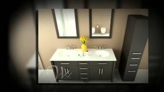 "59"" Rana Double Sink Modern Contemporary Bathroom Vanity Furniture Cabinet"