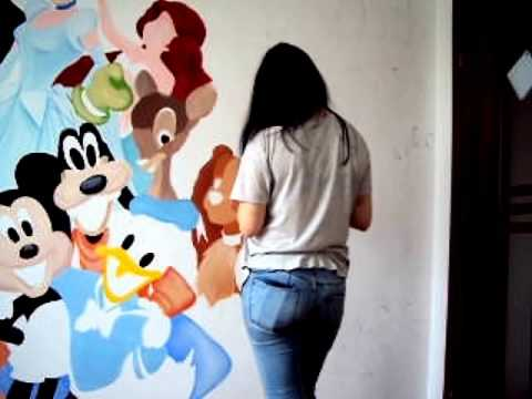 Disneys Characters Wall Painting Time Lapse