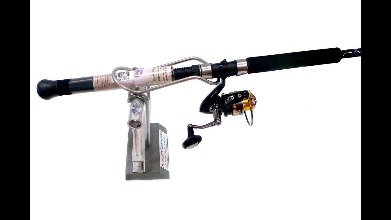 Hook on stainless steel rod holder for boat fishing youtube for Boat fishing rod holders