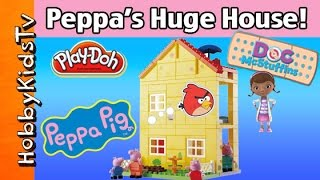 Build Peppa Pig Block House! Angry Bird Breaks Ladder! Play-doh Mask + Buzz Lightyear Hobbykidstv