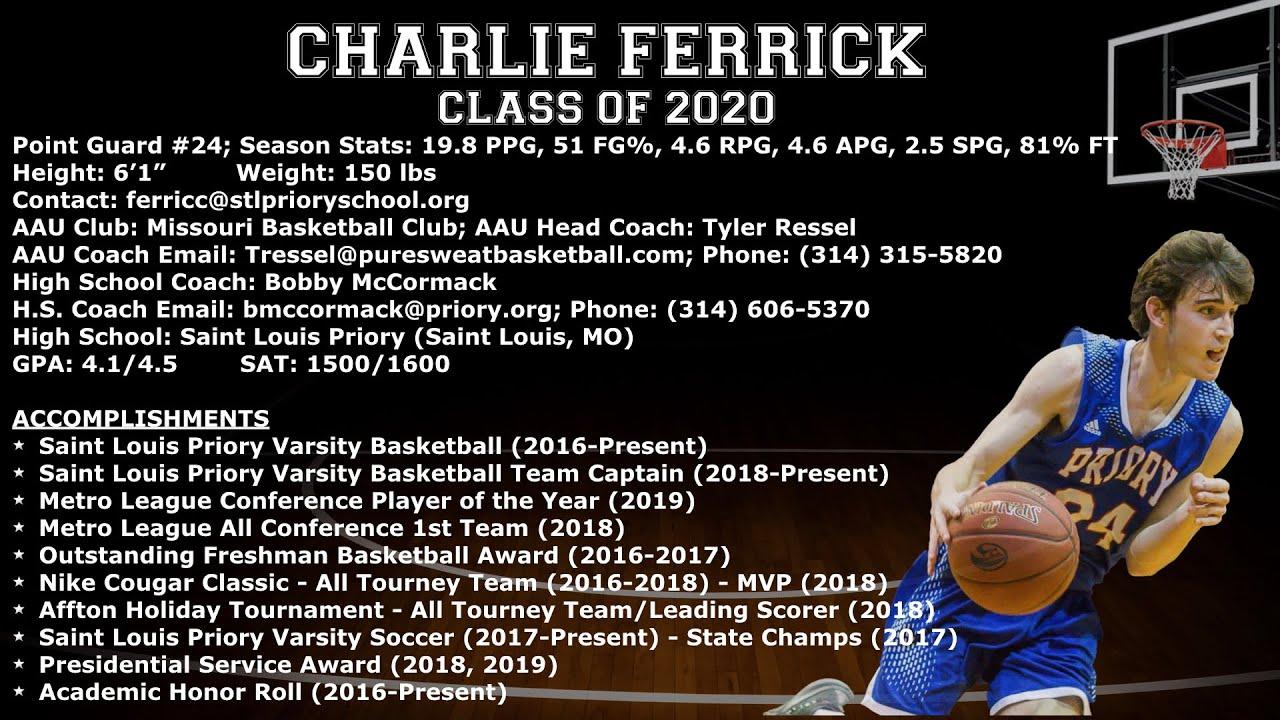 Mizzou Basketball Schedule 2020-2018 Charlie Ferrick   Basketball College Recruitment Video (Class of