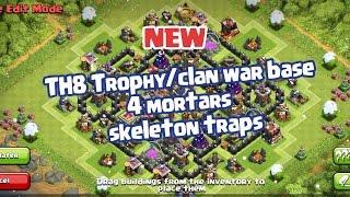 Clash of Clans - TH8 Trophy base 4 mortars & skeleton traps