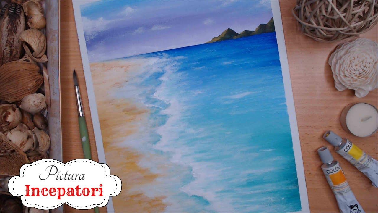 Peisaj de Vara : Plaja , marea si valurile 🌞🌊 O Pictura pe zi | Invata sa pictezi