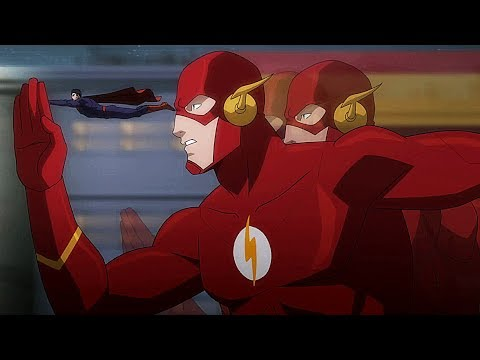 Flash and Superman run away from Omega-Rays | Justice League: War