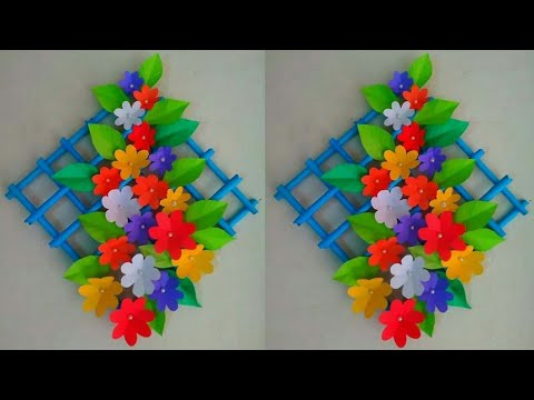 DIY: How to make beautiful paper flower wall hanging wallmate craft idea 💜 easy room decorating🌹