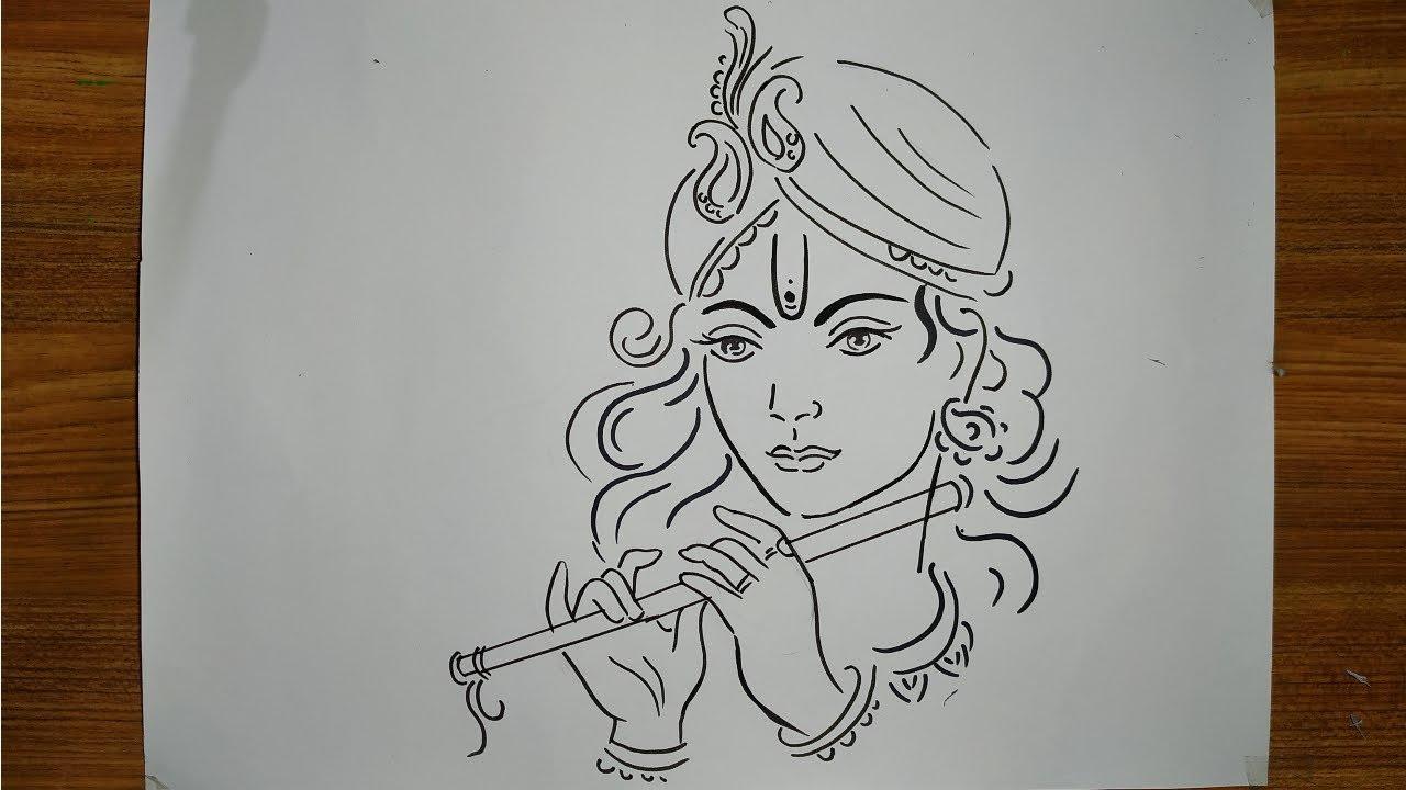 How To Draw Lord Krishna Easy Line Drawing For Happy Janmasthmi Krishna Thakur Drawing Shri Krishna Youtube