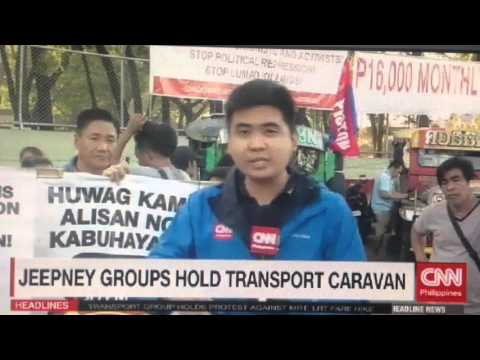 Jeepney groups hold transport caravan