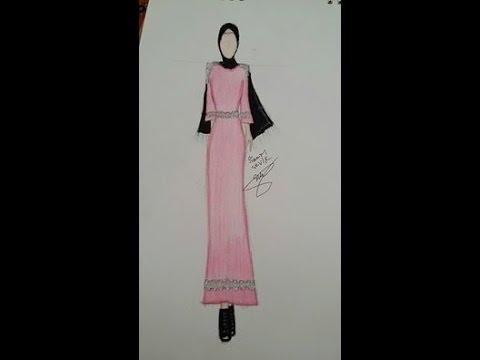 Sinem Moda Tesettürlü Pembe Abiye çizimi Youtube