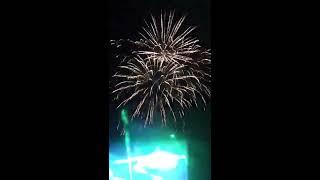 Фрагмент лазерного шоу + салют, Верхняя Синячиха, день леса, 45 лет фанкому, 2 сентября 2017 г