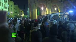 Clashes near the Lebanese parliament building