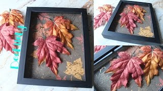 DIY Apartment/Room Decor: Autumn Leaves Shadow Box