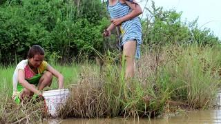 Amazing beautiful girl Fishing in Cambodia - How to Fishing at battambang ( part 227)