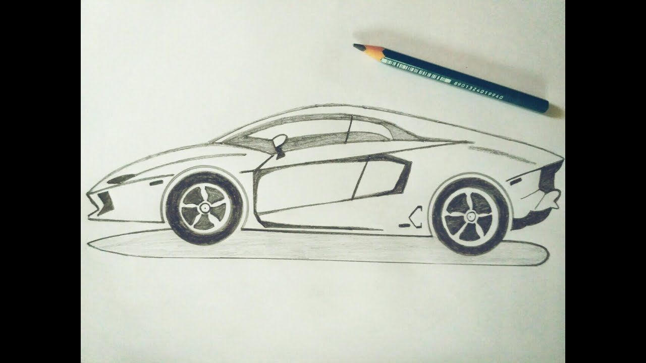 How To Draw Lamborghini Car Sketch Tutorial In Simple Easy Step By