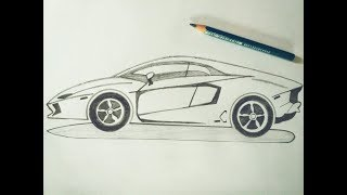 How to draw Lamborghini car sketch tutorial in simple easy step by step for kids. Drawing: A Car