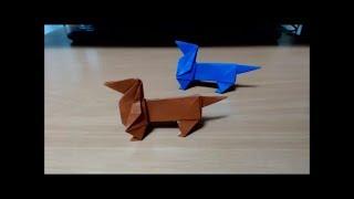 一枚の折り紙から折るダックスフンドです 実は鷹、天使と共に私の代表作...