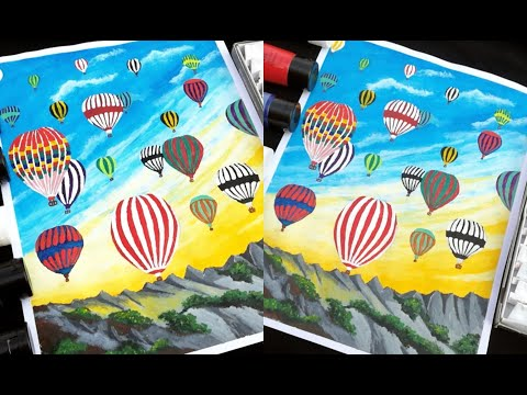 Hot Air Balloon Step By Step Acrylic Painting Tutorial \ Sunset Landscape With Clouds Painting