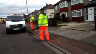 Notts County Council visiting Clarke Avenue Newark-on-Trent repaired and taking out 12 slabs