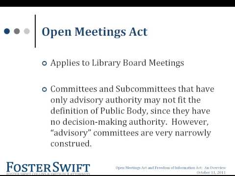 WEBINAR | Open Meetings Act/Freedom of Information Act: What Every Library Should Know
