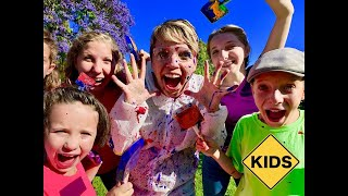 Learn English Words! Paint Splatter with Sign Post Kids!