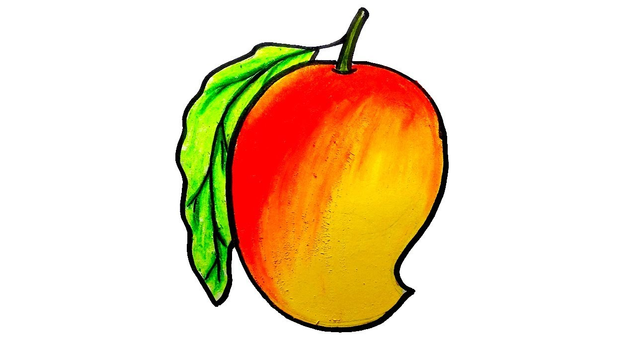 How To Draw Mango Step By Step Easy Mango Drawing For Kids Youtube