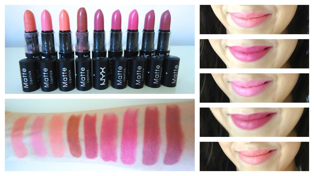NYX Matte Lipstick + Lip Swatches Part 2 - Beauty with Emily Fox ...