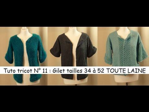Tuto tricot 11   tricoter un gilet femme tailles 34 à 52 TOUTE LAINE -  YouTube 5b1f1ee8786a