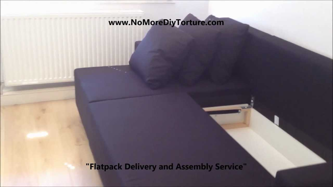 Schlafsofa ikea  IKEA Lugnvik Corner sofa-bed with storage v2 - YouTube