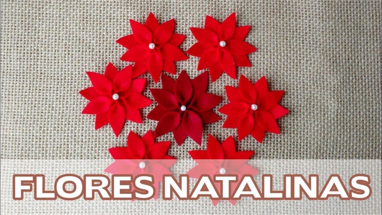 Enfeites de Natal Passo a Passo  Flores Natalinas em Feltro  YouTube