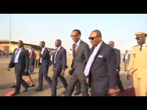 President Alpha Condé welcomes President Kagame to Guinea Conakry