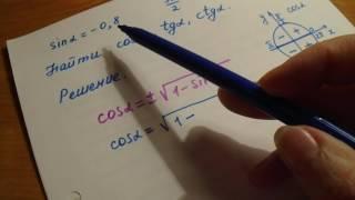Как найти косинус, тангенс и котангенс угла.