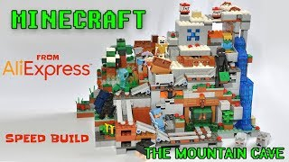 Minecraft The Mountain Cave Unofficial LEGO KnockOff Set  - Speed Build - Aliexpress Unboxing Haul
