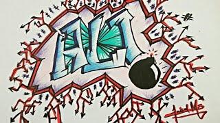 Download Video Graffiti name  ALI step by step drawing MP3 3GP MP4