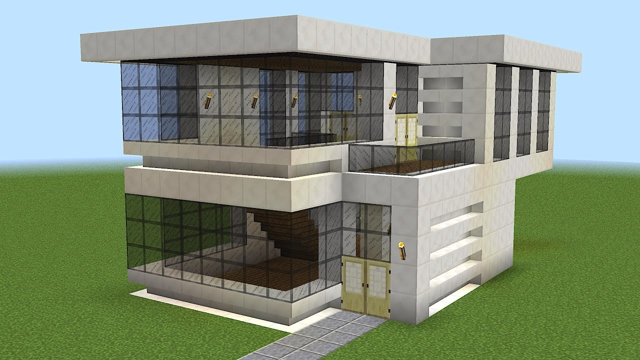 Minecraft how to build a modern house 8 youtube for Big modern houses on minecraft