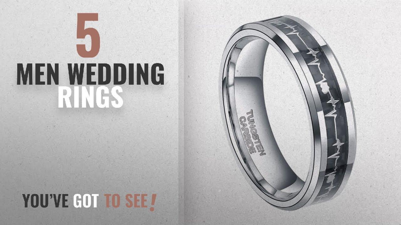 Burton Wedding Rings [ Winter 2018 ]: 6mm Tungsten Carbide Heartbeat Rings  for Men EKG Heart Wedding